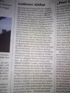 Aluhutbericht in der Sueddeutschen Zeitung