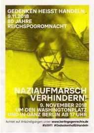 """#GedenkenheißtHandeln """"Naziaufmarsch in Berlin verhindern""""!"""