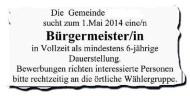 Bürgermeister in Brandenburg per Inserat dringendgesucht!